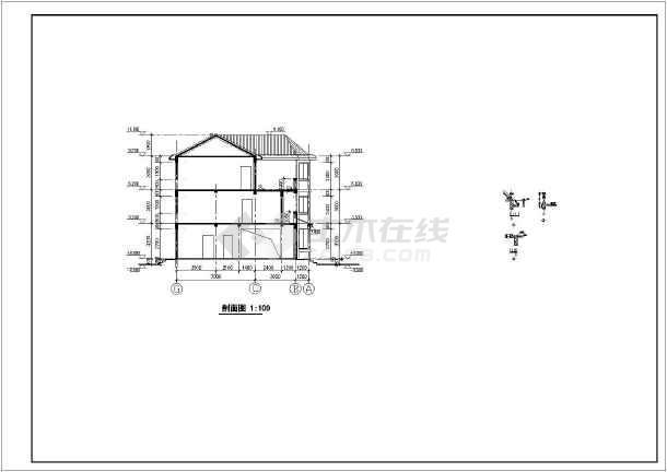 三层瓦房坡顶豪华别墅cad建筑结构全套施工图
