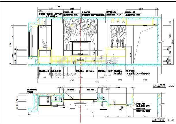 家装设计现代电视墙设计cad立面图(标注齐全)图片1