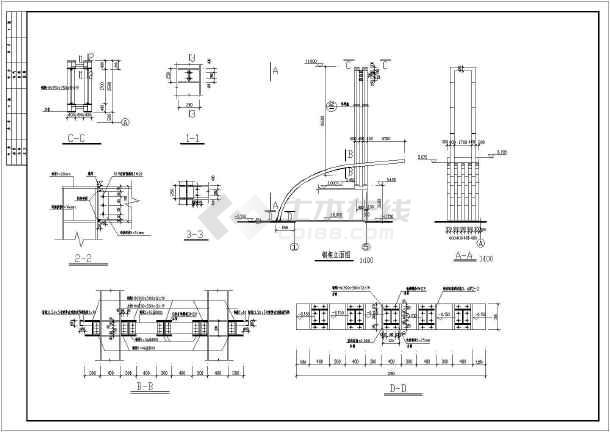 包括结构设计说明,基础平面图,屋面结构布置及板配筋图,屋面梁配筋图