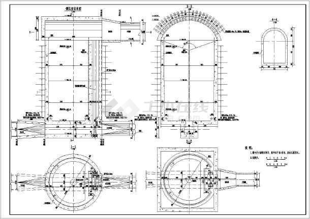 水利工程某调压井的结构布置设计图
