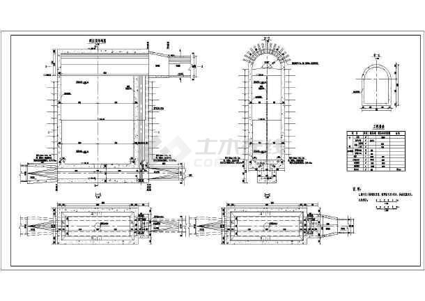 图纸包含:调压室结构图,若干典型断面图,工程量表等.
