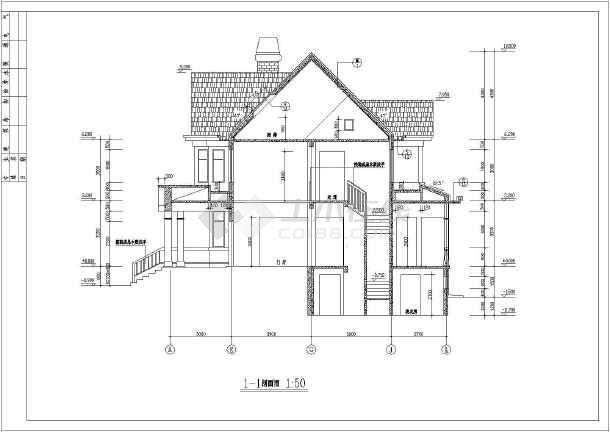 某地方案结构框架小面积建筑设计山地图_cad2016cad上色别墅给图片