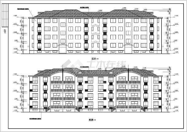 新加坡多层花园式住宅建筑设计施工图,内容主要包含:各层,屋顶平面图