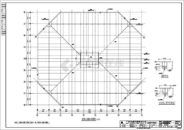 【广州】某体育学院体育馆正放四角锥网架结构施工图