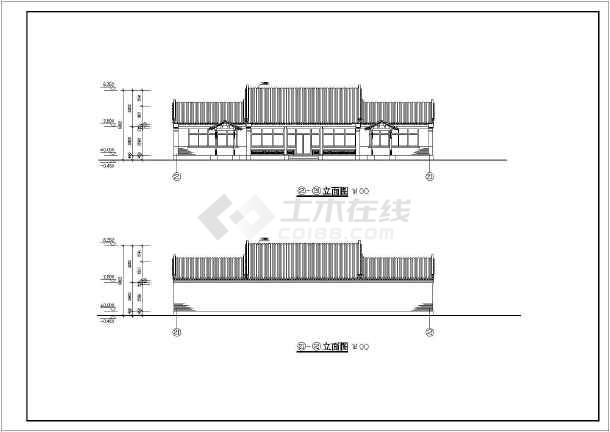 某地单层框架结构3进四合院建筑方案图