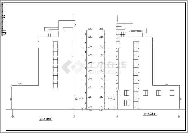 结构办公楼建筑设计施工图,两层裙楼设计,图纸内容包含:各层平面图