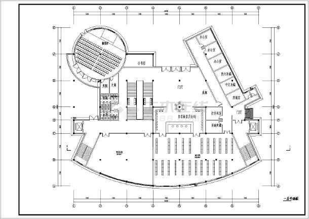 江苏某大学二层框架结构图书馆建筑设计方案
