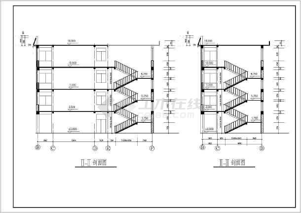 层框架结构教学楼建筑设计方案,图纸包括:目录,做法,一层,二层平面图