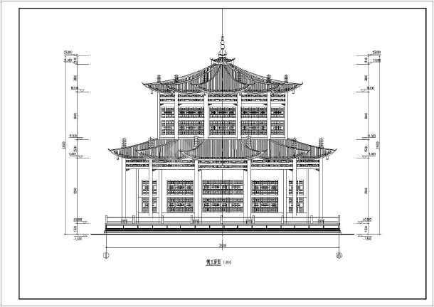 古典园林十二角攒尖重檐亭子方案设计图