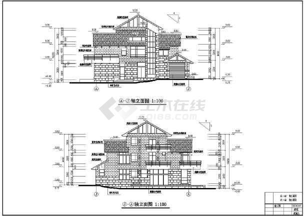 本图纸包含屋顶平面图,楼层平面图,轴立面图,剖面图,厕所立面图,厨房