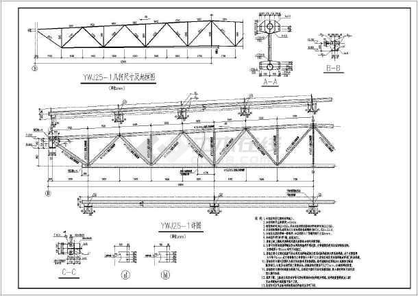 某桁架钢结构屋盖设计图