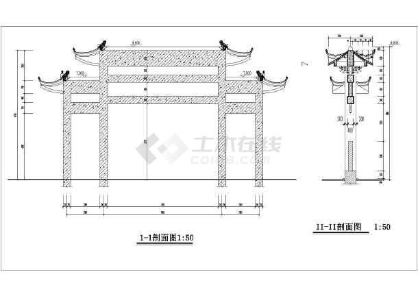 某地五套古建筑门楼牌坊建筑施工图图片3