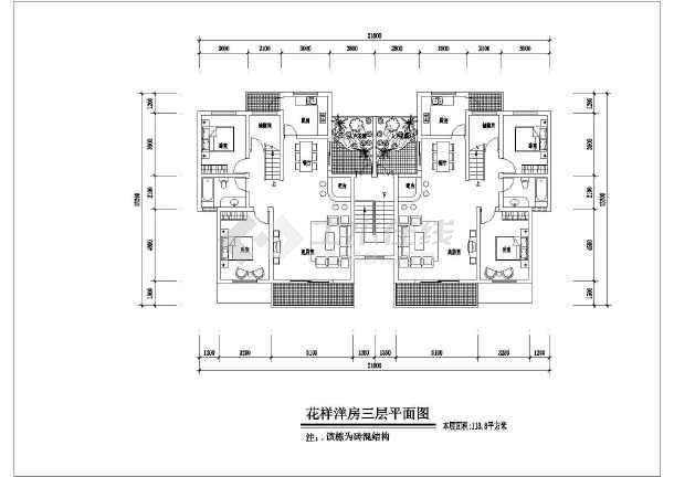 花园街住宅小区多层洋房住宅楼建筑户型图