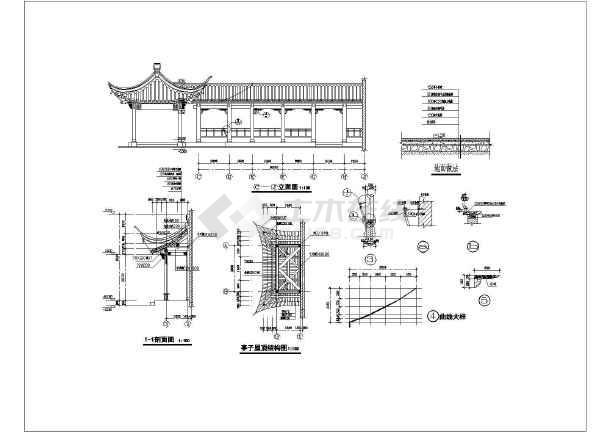 江南园林古建全套建筑结构设计图(共3张)图片1