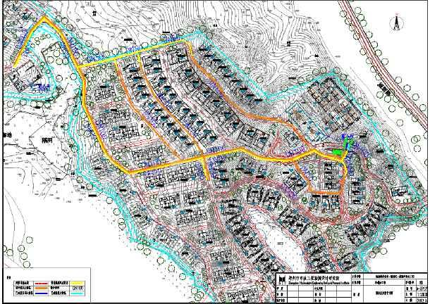 本图纸为某山地别墅市政给水排水图纸,包括污水方案设计图,给排水