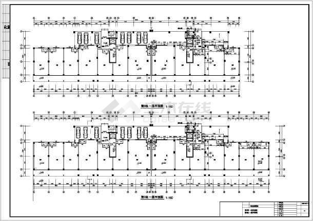 本图纸为:某城市阳光紫薇园住宅楼建筑设计图纸,内容包括:二层平面图