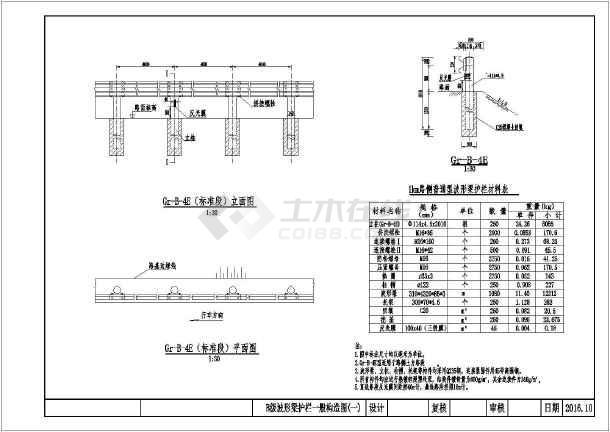 【设计施工图】小米B级公路梁护栏设计施工图波形电源板电视图纸图片