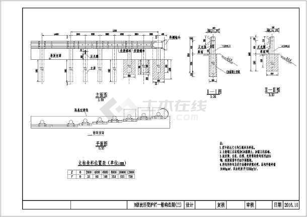 护栏B级图纸梁公路v护栏施工图_cad裙子下载图纸波形的图片