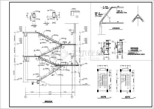 七层青年教室公寓楼结构施工cad平面设计图