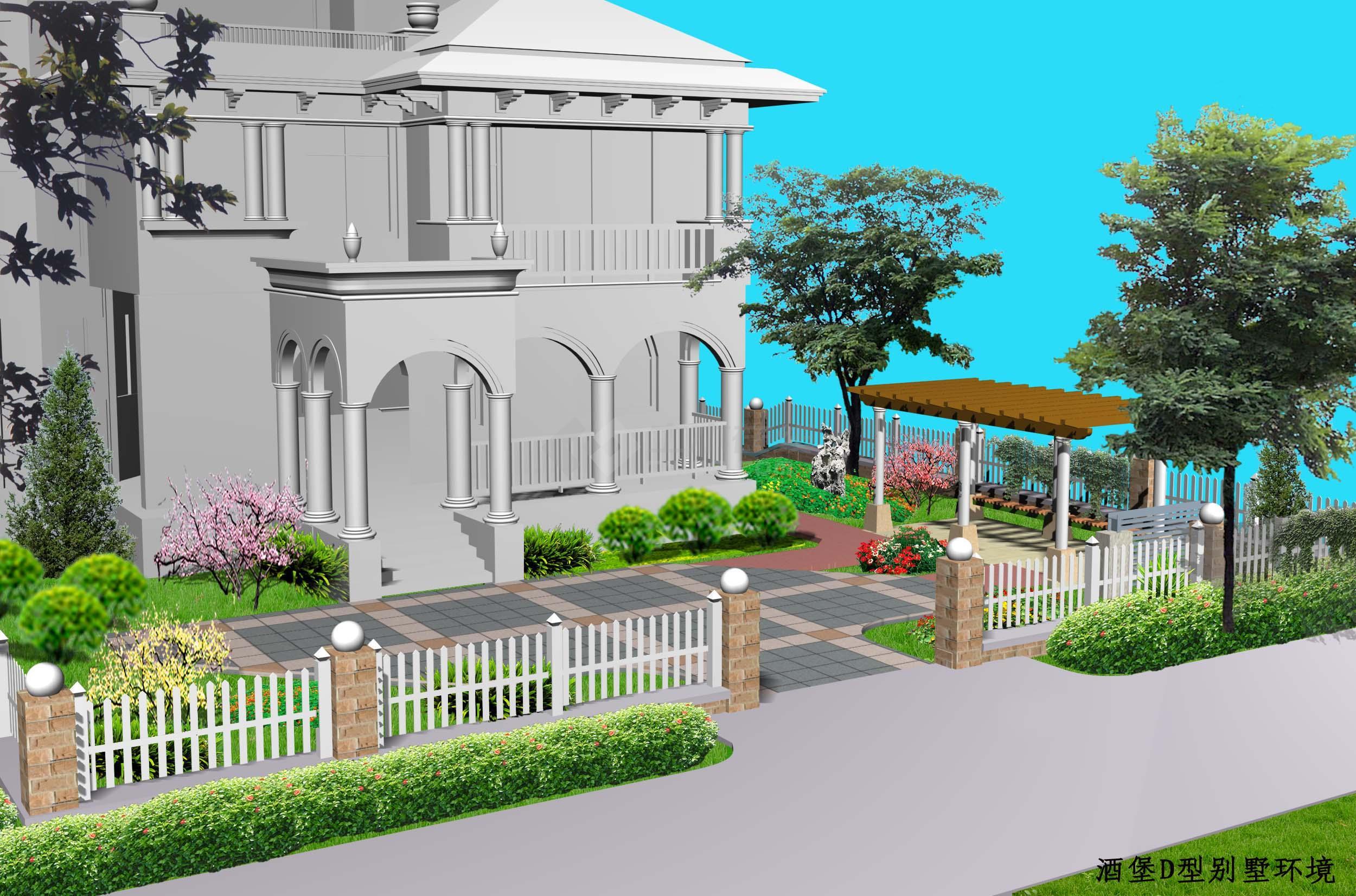 别墅庭院绿化环境效果图