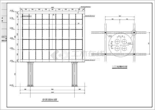 某地LED大屏幕钢结构图纸全套图_cad行业下cad方案非标自动化图纸图片
