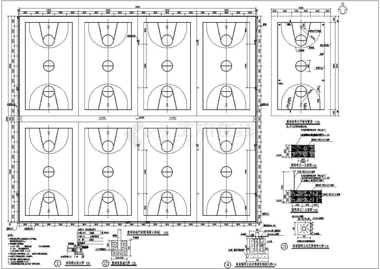 某篮球,排球,羽毛球场地建筑设计施工图