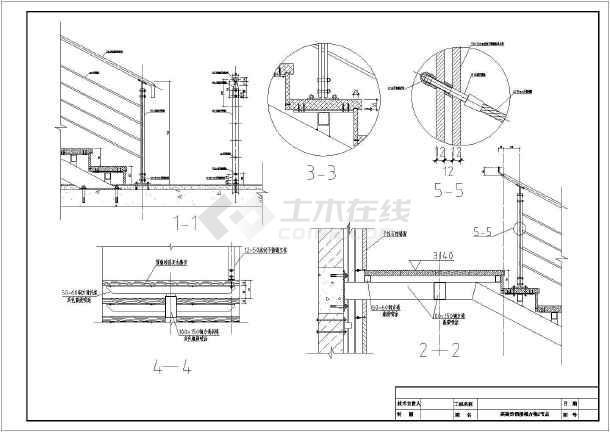 某钢楼梯的钢结构图和装饰图及节点图