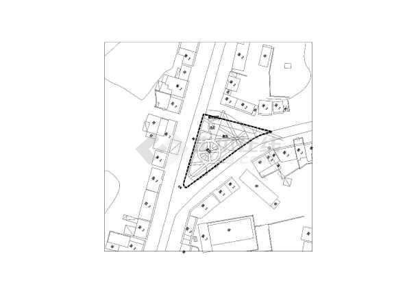 某地三角形地块广场平面规划方案总图
