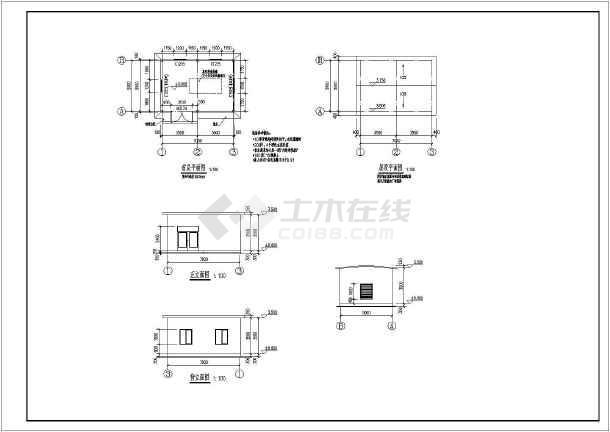 某单层配套机房小型钢框架结构施工图