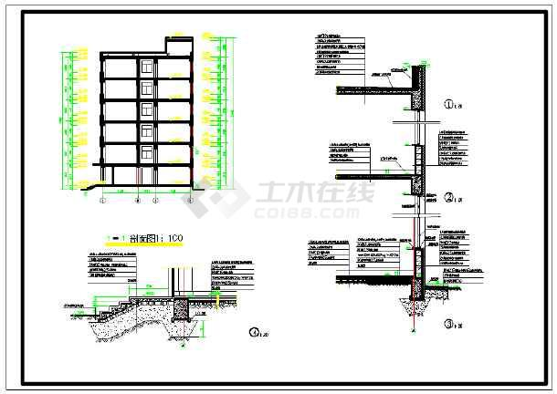 本工程为长春某中学六层男生公寓楼. 结构形式:框架结构. 用地面积:1200平方米. 占地面积:794.88平方米。 总建筑面积:5045平方米. 长X宽:13.50X57.60米。 建筑高度:22.30m. 采用钢筋混凝土柱下独立基础,浇筑成矩形阶梯状,分两阶,高度为800mm,砼为C25,钢筋为HRB335级。由于走廊两侧尺寸较小,将两基础合并成双柱基础,基础下做100厚C10细石混凝土垫层。地梁采用C30砼,HRB400级钢筋。梁顶标高为±0.