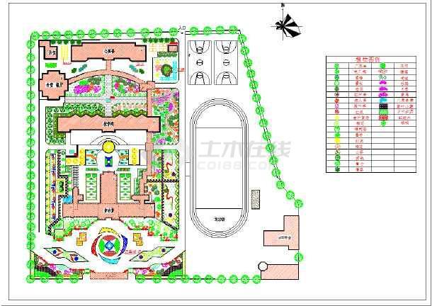 校园绿化规划设计平面图(含图例)