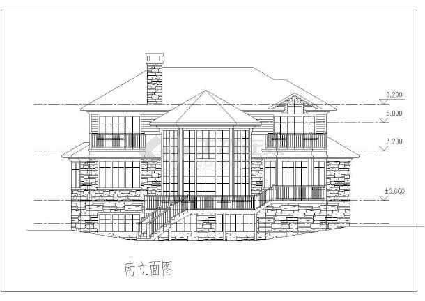 400平米山坡地型独栋图纸cad施工倒角图纸(方案加工别墅图纸带机图片