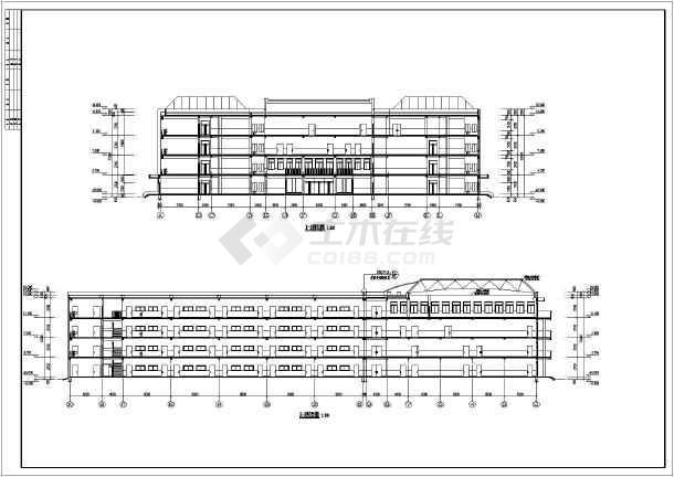 钢筋混凝土框架填充墙结构.   图 四层平面图,屋面平面图,立面图