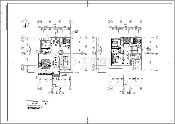 某地两层框架结构小别墅建筑设计方案图纸图片