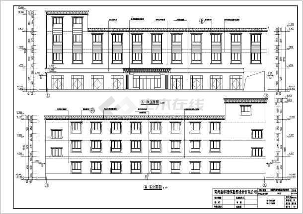 某地区三层框架结构宾馆建筑设计方案图