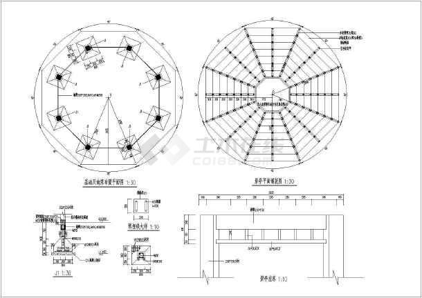 某木结构双层八角景观亭施工全套图,含亭平,立,剖面图,地面铺装图