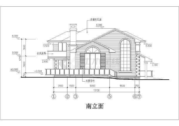 某小区二层坡屋顶别墅建筑设计方案