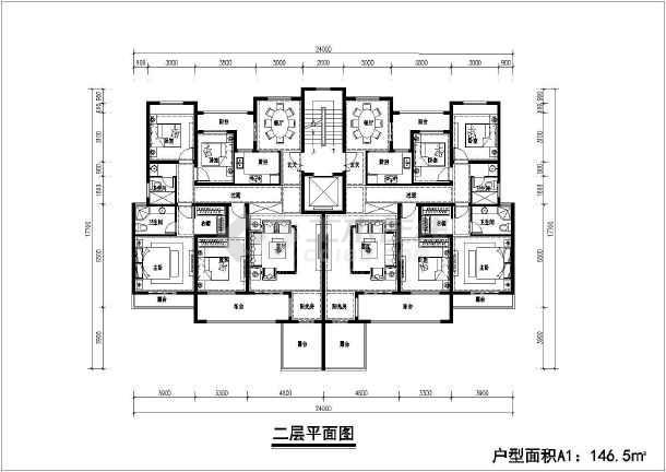 某乡镇六层花园洋房建筑设计平面图