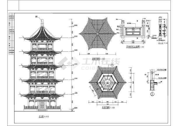 仿古代五层带斗拱摘星楼宝塔建筑设计施工图