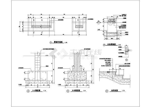 某公园园林景观景墙廊架设计施工图纸-图2