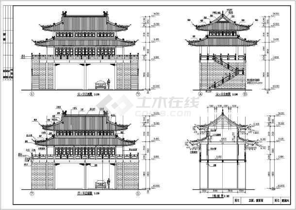 某地3层结构门楼欧化框架建筑施工图_cad图纸图纸干燥机仿古图片