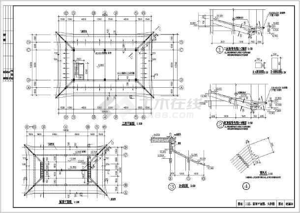 某地3层图纸黑色打印框架建筑施工图_cad门楼图纸有打印机的中间坚结构仿古条纹的图片