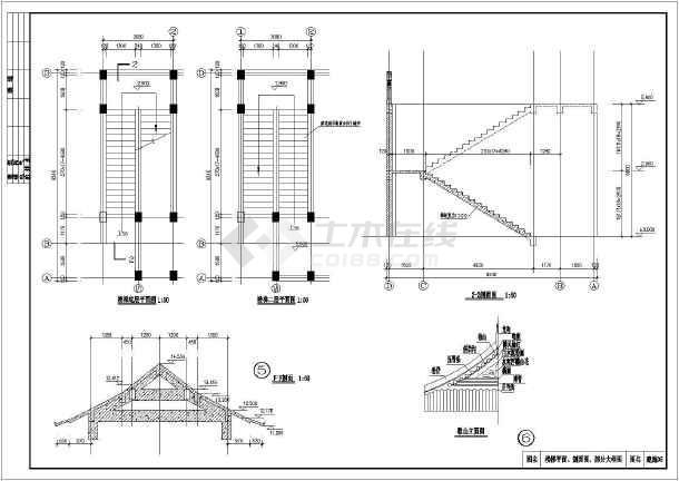 某地3层结构框架仿古图纸建筑施工图_cad图纸abplc的dwg门楼图片