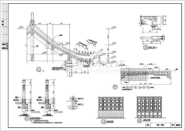 某地3层结构楼房建筑图纸仿古施工图_cad框架门楼v结构图纸看怎么图片