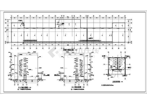 该工程为山东某4层框架中学教学楼建筑设计施工图纸.图片