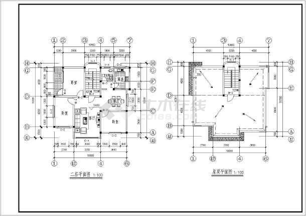 30米农村自建房建筑结构图cad施工图