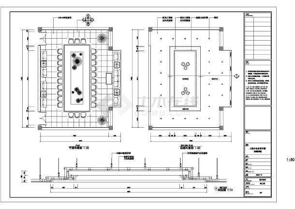 200平方米办公室小会议室装修设计cad图(标注齐全)图片
