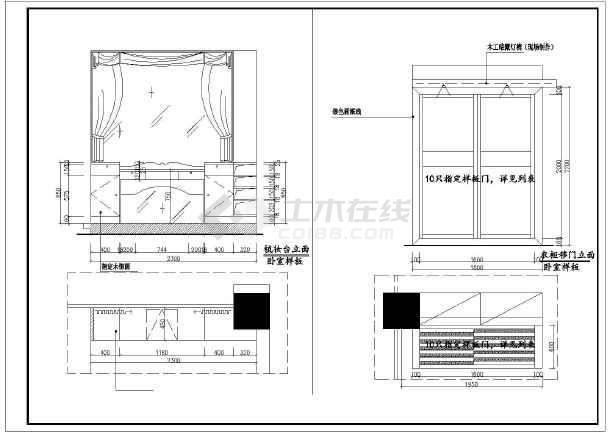展厅立面大样图,包括大厅电视背,衣柜,书台,橱柜,屏风立面详图等设计.图片