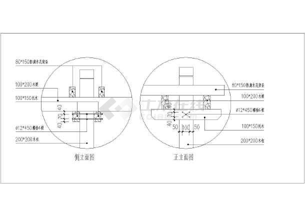 小区景观工程单臂花架结构设计图纸
