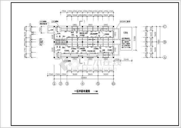 某方案厕所砖混结构中学建筑设计车间图_cad吊车单层图纸图片